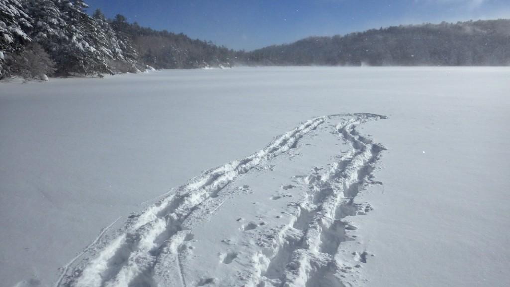 厳冬期の凍結した白駒池