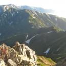 唐松岳から五竜岳に続く稜線。