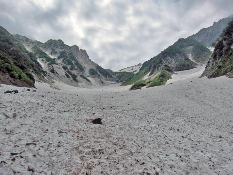 大雪渓の上の方