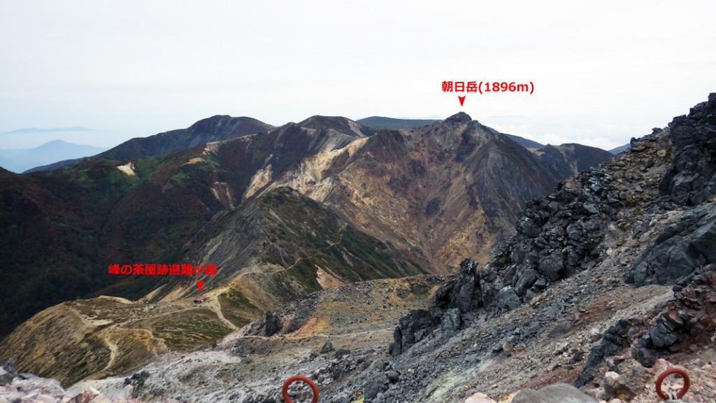 峠の茶屋跡と朝日岳