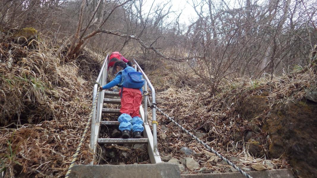 金時山北面の登山道の階段