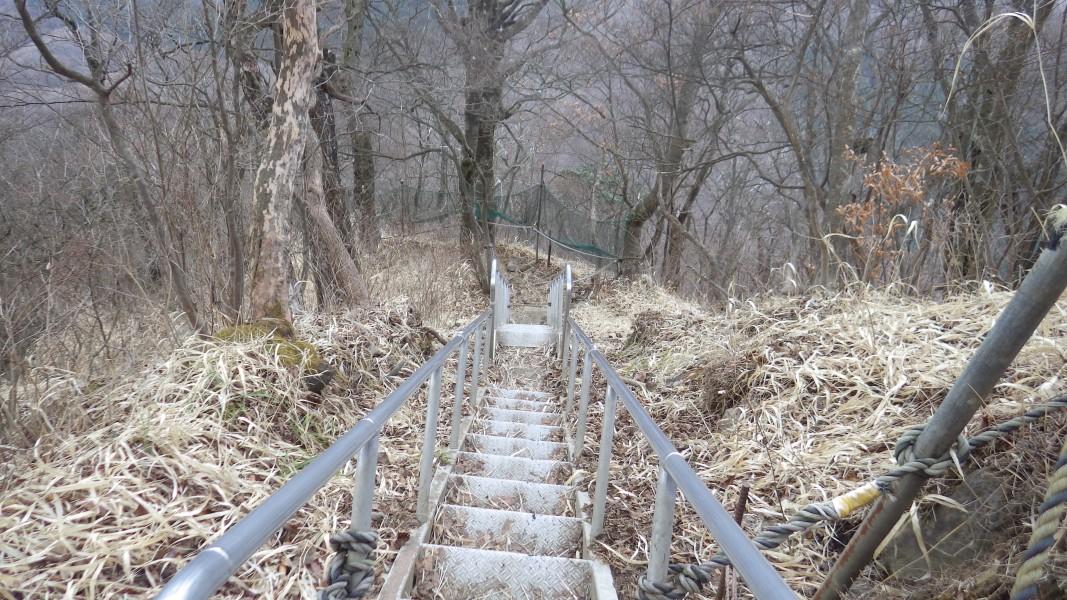 金時山北面登山道の階段