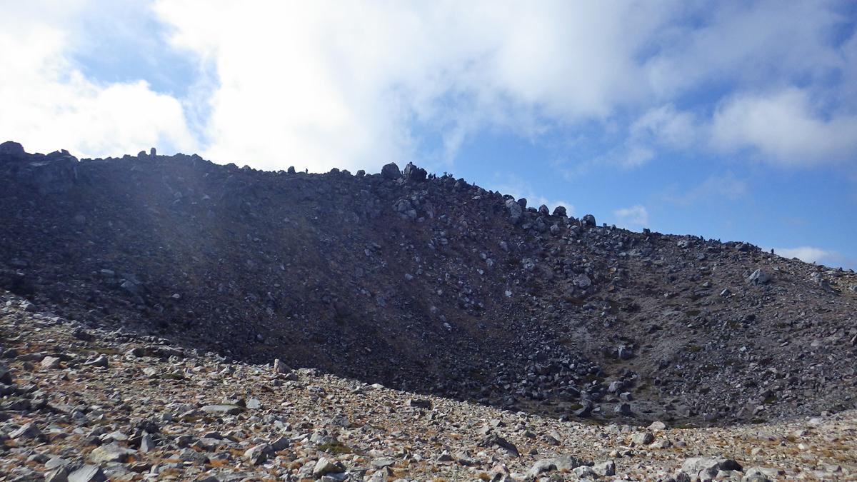 茶臼岳山頂の噴火口跡