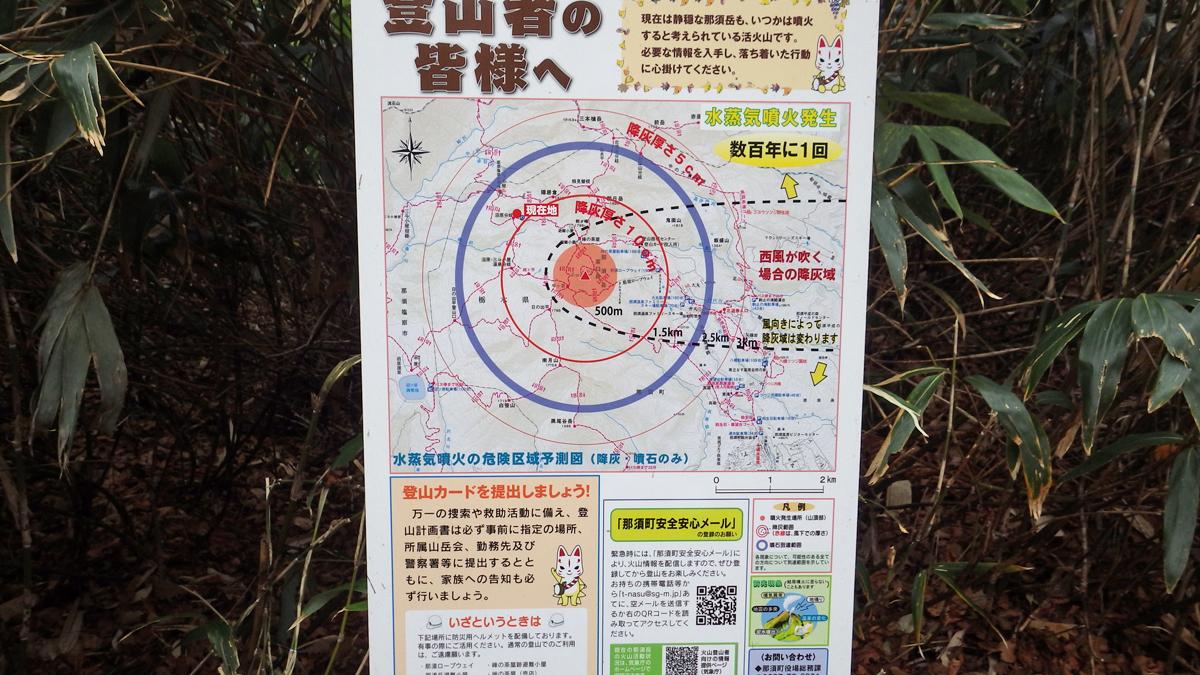 那須岳噴火のサイの危険区域予測図