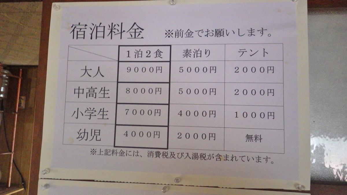 三斗小屋温泉煙草屋料金表(2018)
