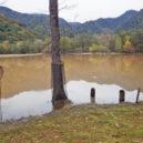 茶色い泥水が溜まった西ノ湖
