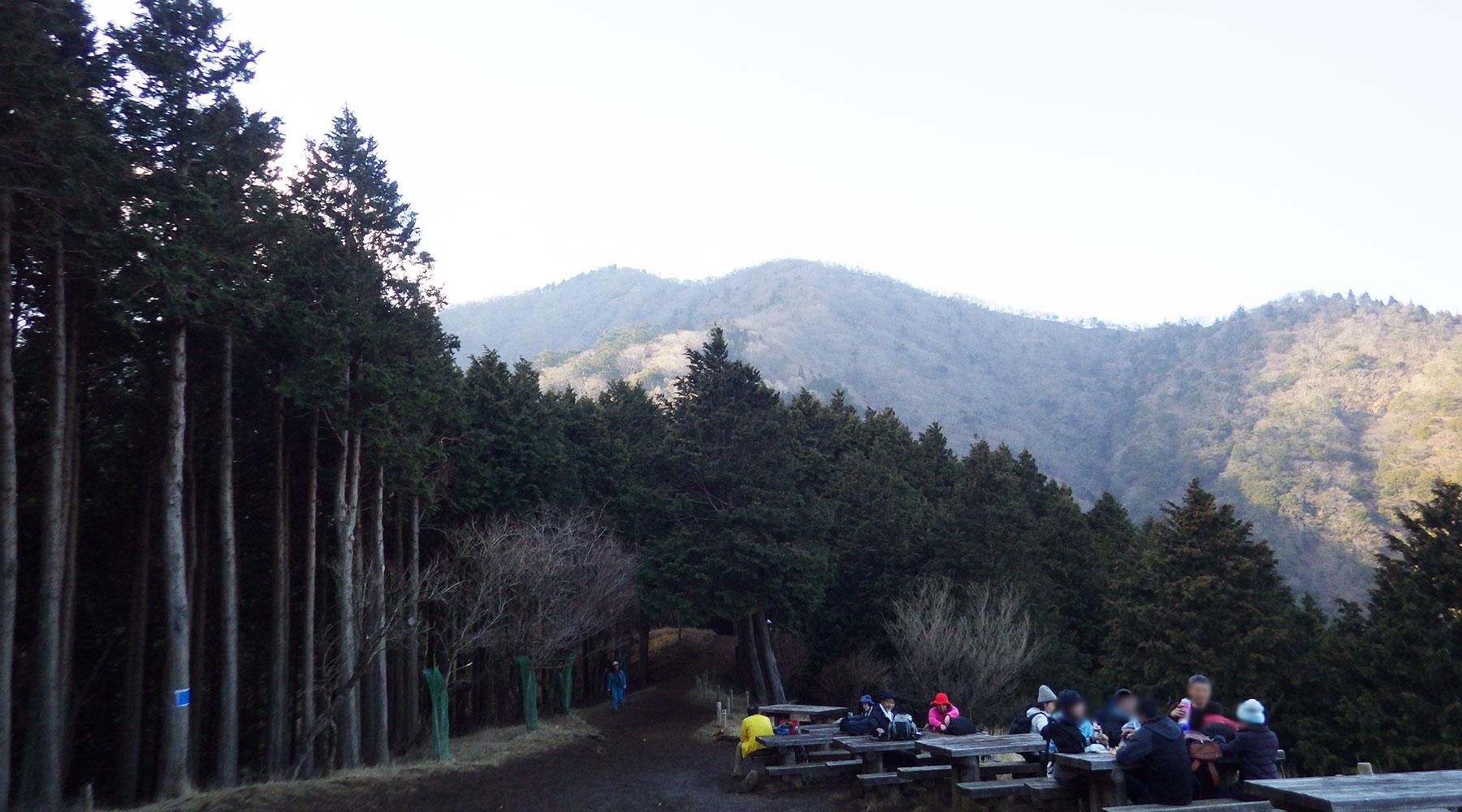 見晴台から大山山頂方面を見上げる