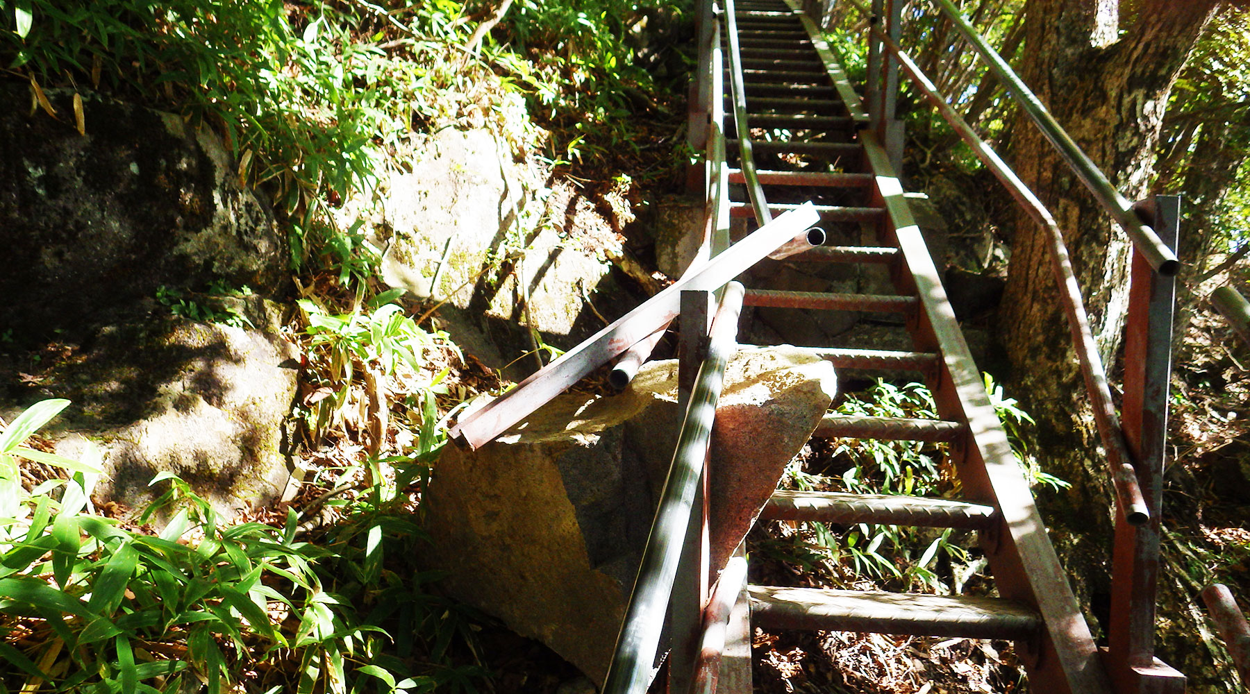 落石の食い込んだ階段