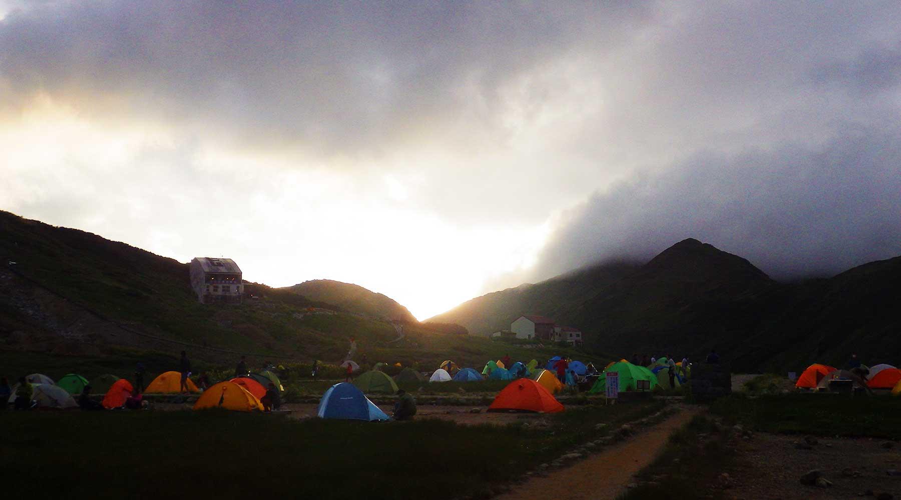 雷鳥沢キャンプ場の夕陽