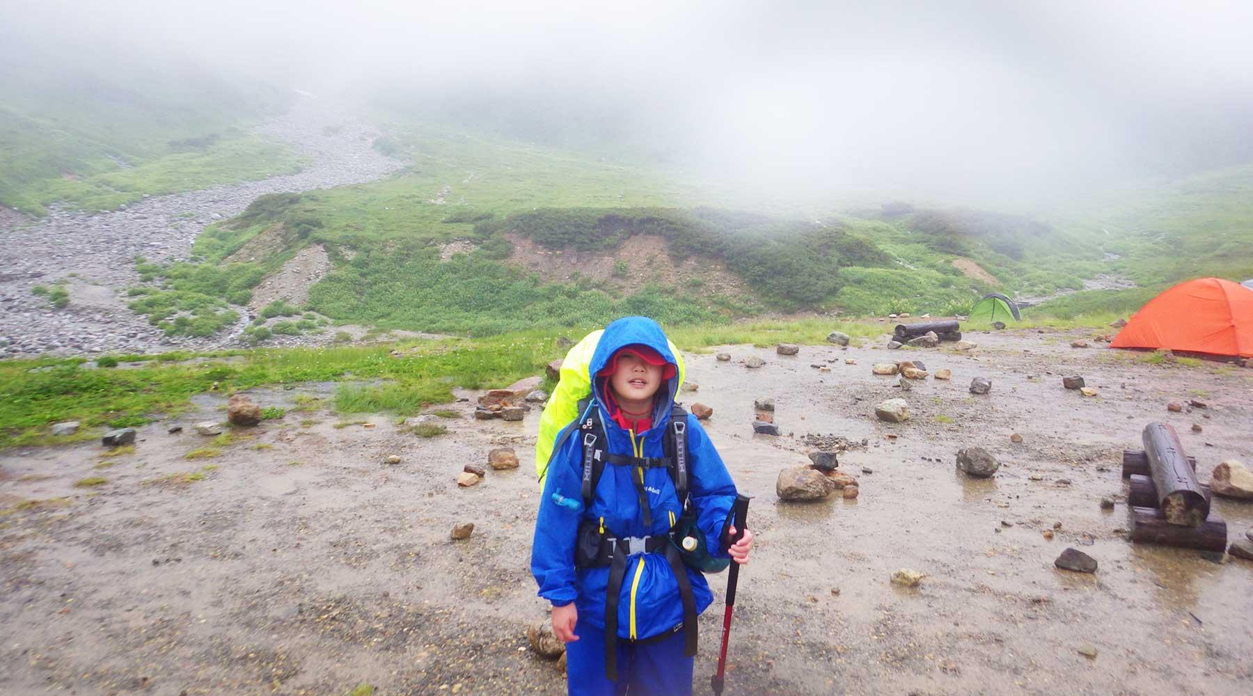雨の雷鳥沢キャンプ場
