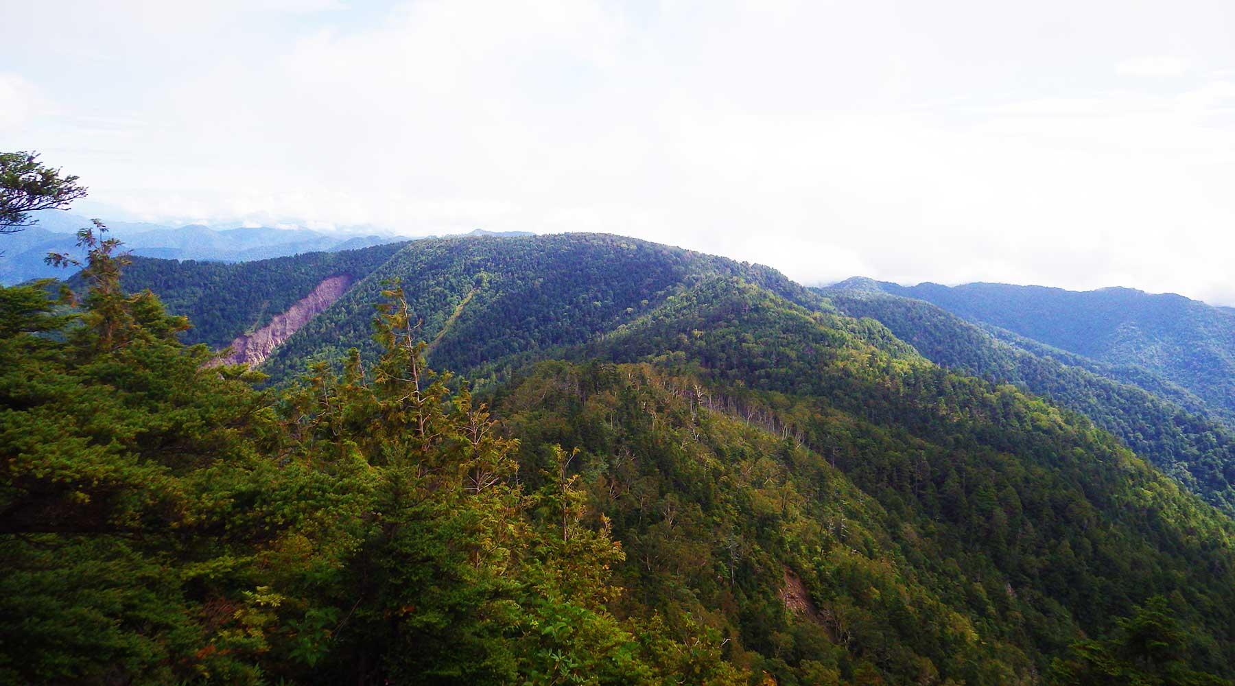 帝釈山から見た田代山