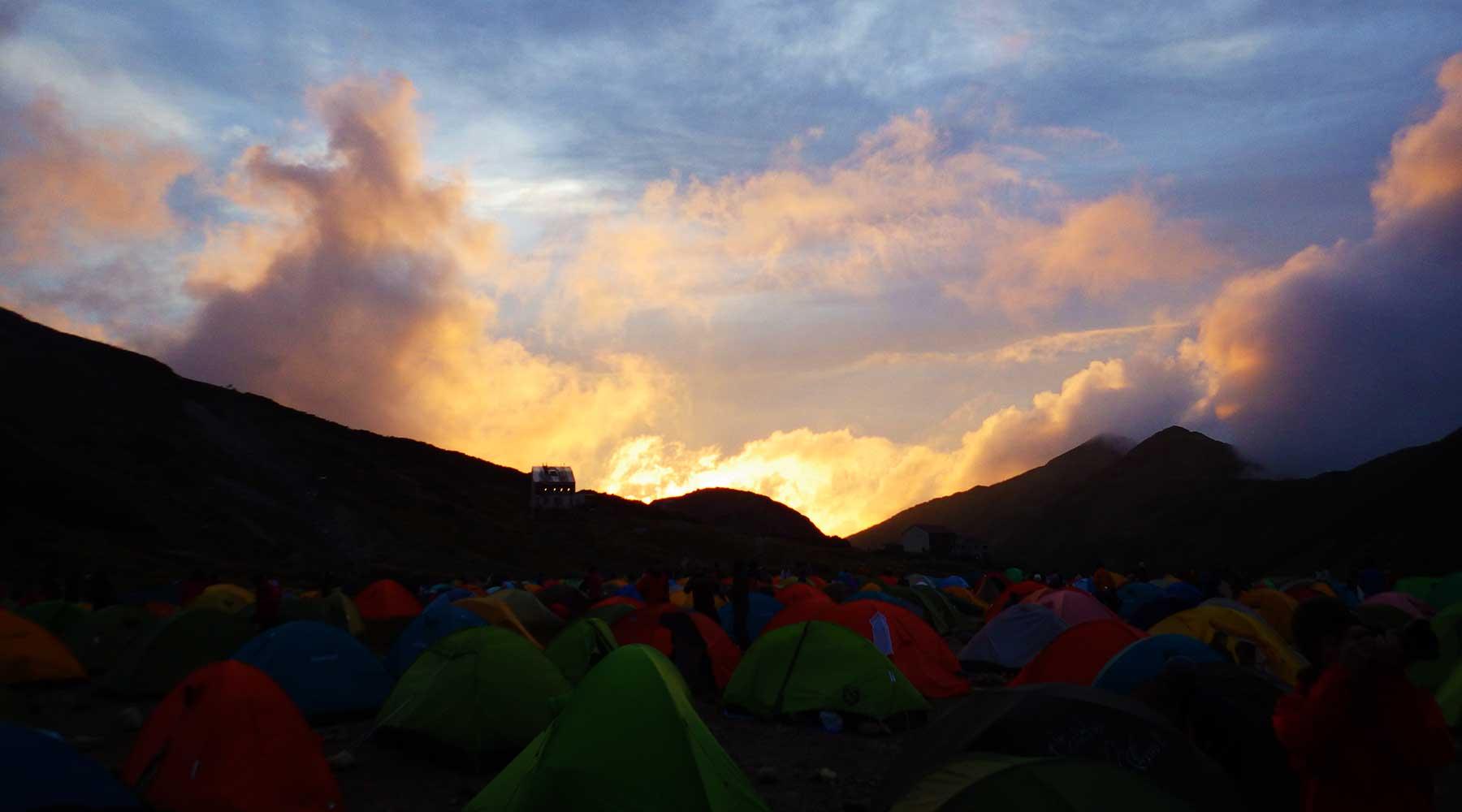 富山市の方へ沈む夕日
