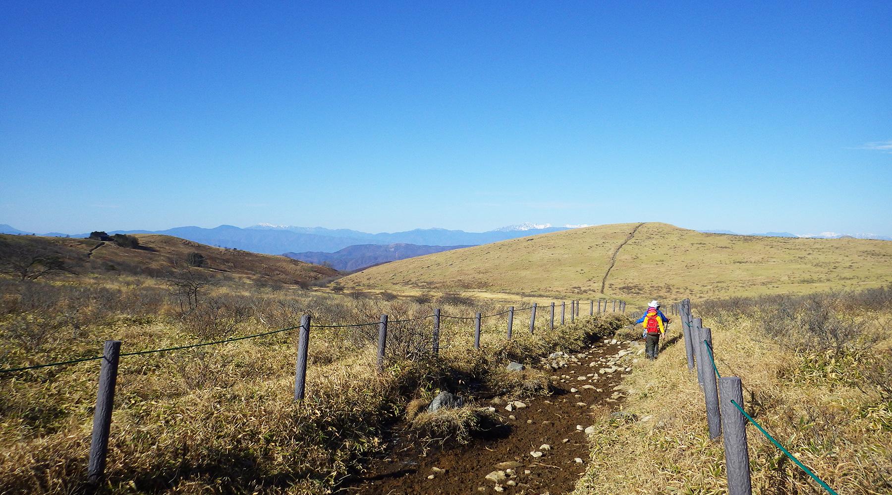 左にコロボックルヒュッテを見ながら蝶々深山へ