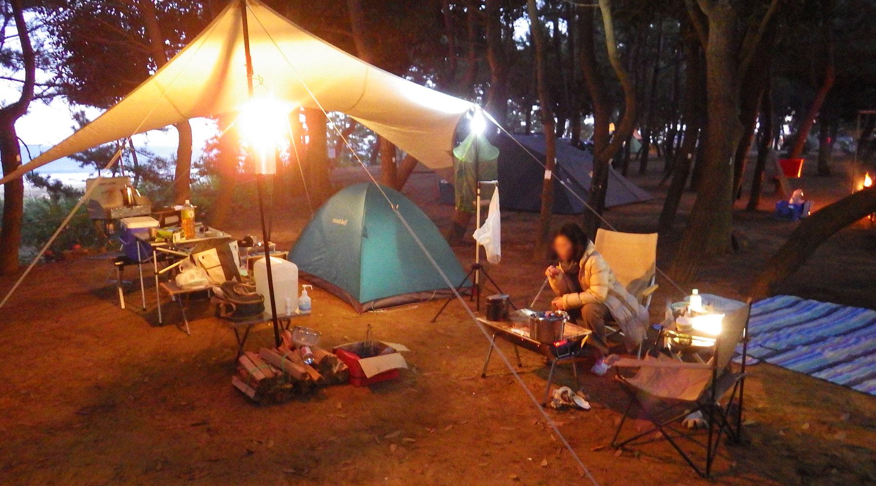 大洗サンビーチキャンプ場・松林サイトT3