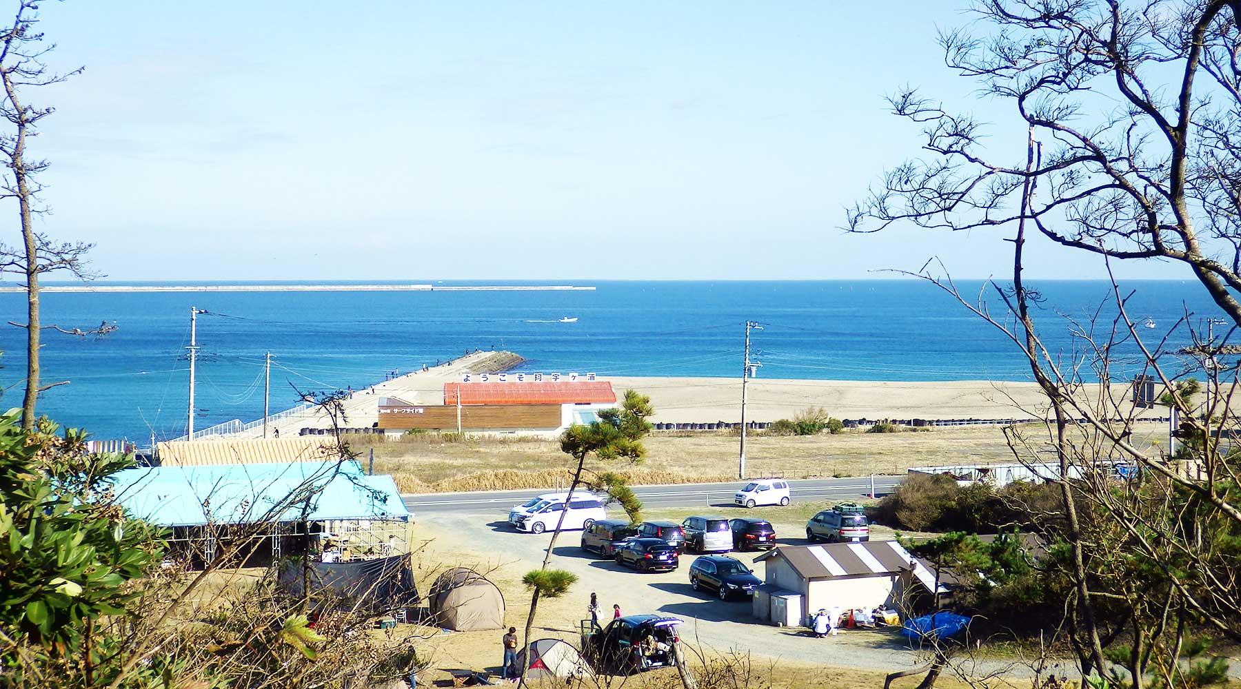 阿字ヶ浦・田の上キャンプ場から見た浜辺