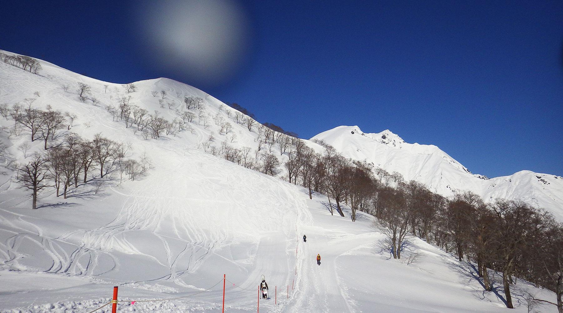 谷川岳・天神平スキー場の脇を登る