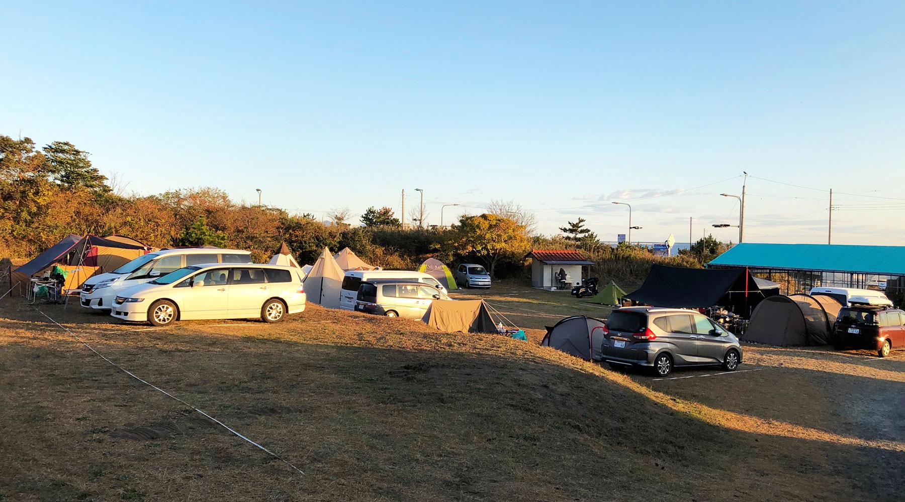 阿字ヶ浦・田の上キャンプ場段丘下のサイト1~11
